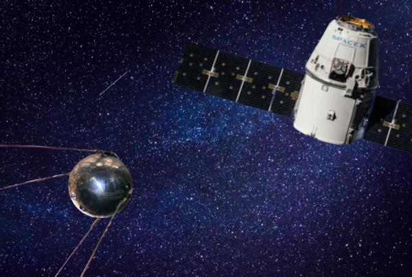 La via lattea fa da sfondo a Sputnik e un satellite cargo di SpaceX
